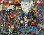 "Psychedelic Outsider Visionary Art - ""State Of The Union"" by Michael J Bowman aka Velveeta Heartbreak - Digital ePrint"