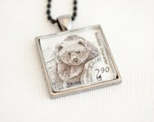 bear necklace, brown bear jewelry, mama bear necklace, vintage postage stamp Sweden 1993, unisex pendant