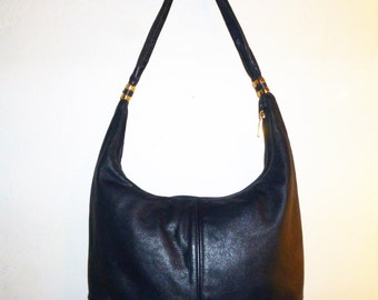 Vintage 90's - Jane Shilton - Made in England - Navy Blue - Stitched Leather - Slouchy - Shoulder Bag - 14 x 10 x .5