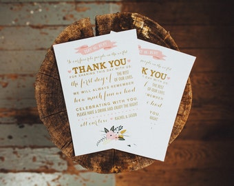 Thank You Reception Card  Reception Decor  Thank You Card  Vintage Wedding Decor  Reception Thank You Card  Place Card