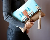 Wool and Leather fold over clutch, fold over bag, fold over purse, bohemian clutch, leather tassel  charm ,  boho bag, native American bag