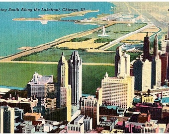 Vintage Chicago Postcard - Looking South along the Lakefront (Unused)
