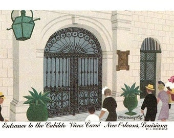 Vintage New Orleans Postcard - Entrance to the Cabildo -- Artist Signed, A. Kronengold (Unused)