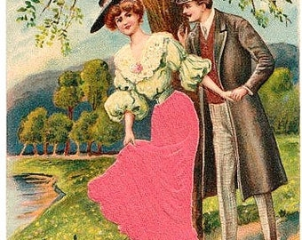 Antique Romance Postcard - The Red Silk Skirt (Unused)
