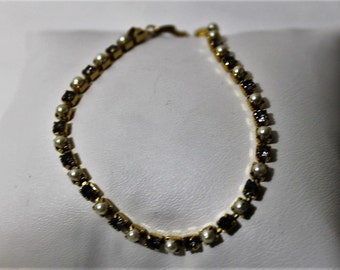 Vintage AVON Tennis Bracelet, Faux Pearl & Amethyst