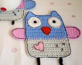 Serenity blue and Lilac grey Owl coaster, Crochet Owl, Crochet Animal Coaster (1pc)
