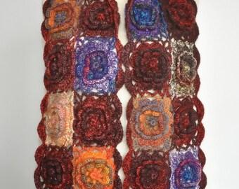 Sunshine - Contrast - Crochet 3D Floral Multicolor Granny Square Scarf