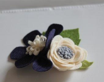 navy and cream felt flower headpiece / headband