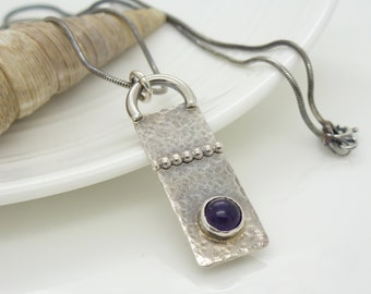 Amethyst necklace, hammered and textured sterling silver metalwork spiral gothic pendant, dark purple oxidized silver jewelry