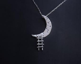 DREAMER - sterling silver pendant - moon - ladder