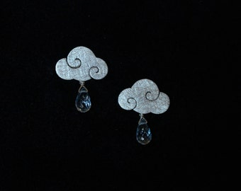 "Earrings ""SWEET CLOUDS"" sterling silver clouds with blue topaz rain drops"