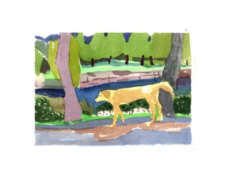 Dog by the pond (days of serendipity)- Original watercolor painting