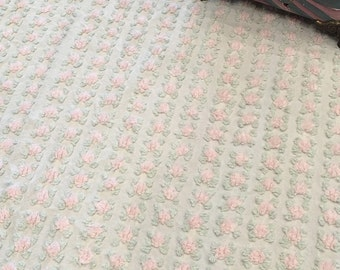 1950s Baby Pink Rosebud Chenille Bedspread Coverlet or Cutter - Chenille Fabric - Baby Girl Nursery - Young Girl - Retro Vintage Girly Queen