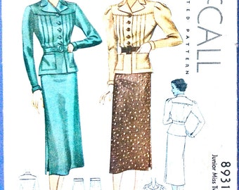1930s Dress Pattern Two-Piece 30s Dress Buttoned Front Collar Misses' Vintage Sewing Printed Pattern Bust 32