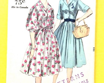 1950s Vogue 9967 Women's One-Piece Dress Gathered of Pleated Skirt Buttoned Front Closing Band Cuffs   Vintage Sewing Pattern Bust 32