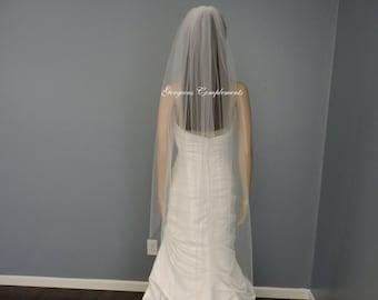 Waltz Wedding Veil Single Tier Medium Fullness Classic and Elegant Cut Edge, Bridal Veil CE55X70