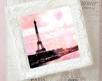 Pink Paris Eiffel Tower Photo With Frame, Shabby Chic Decor, Eiffel Tower Hot Air Balloons, Paris Decor, Pink Eiffel Tower White Frame Decor