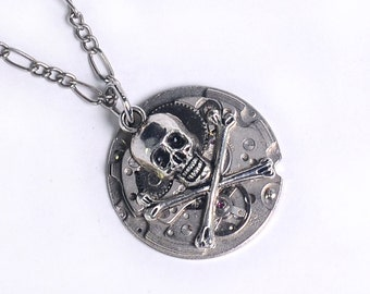 Steampunk Skull n Cross Bones Necklace