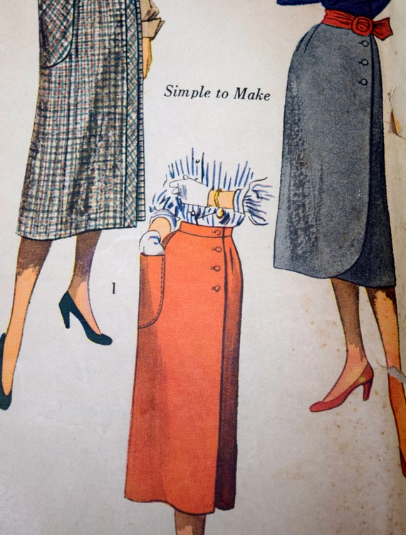 Simplicity 3685 Misses 1950s Wraparound Skirt Sewing Pattern