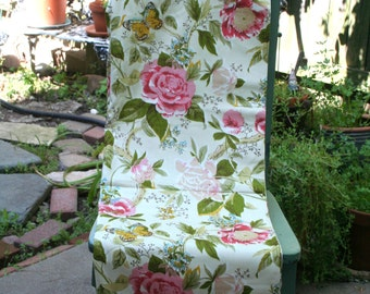 Large Floral and Butterfly Upholstery Fabric / Over 5 Yards