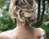 Boho Gold Hair Halo Hair Vine, Flower Hair Crown, Grecian Gold Hair Wreath, Boho Gold Flower headband, Wedding Hair Vine - 'EMBER'