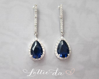 Blue Sapphire Color Vintage Style Crystal Wedding Earrings, Vintage Style 1920s Bridal Earrings, Pear Shaped Earrings - 'HARPER'