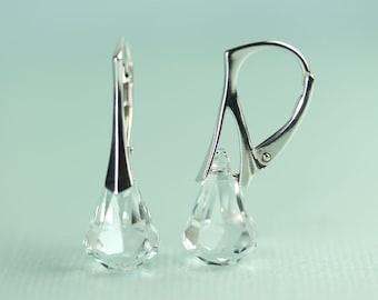 Swarovski Clear Crystal Rain Drop Sterling Silver Lever back Earrings by art4ear, Free shipping in Canada, crystal earings sparkly jewellery