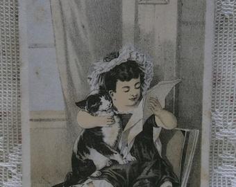 Victorian Trade Card-Aschbach Organs-Allentown,PA-Pretty Girl w/Tuxedo Kitty Cat