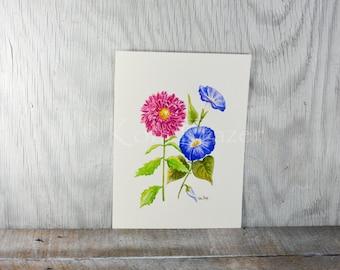 Aster and Morning Glory, September birthday flower, original watercolor painting, birth month flower, September birthday gift