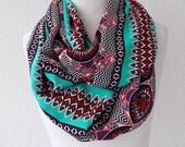 Aztec print scarf, Infinity Scarf, Loop Scarf, Neckwarmer, Cowl Scarf