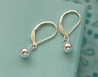 Silver Ball Dangle Earrings on Leverback Earwire, Dainty Everyday Sterling Silver Jewelry