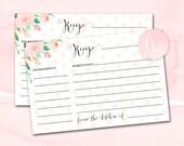 Bridal Shower Recipe Card Printable, Printable Recipe Cards, Bridal Shower Recipe Cards, Bridal Recipe Card, Blush Mint Bridal Shower