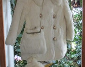 Little Girls White Double  Breasted  Rabbit Fur Coat Set Coat  Hat Change Purse Top  Hand Muff Big Gold  Buttons ..It's a Wow!!!