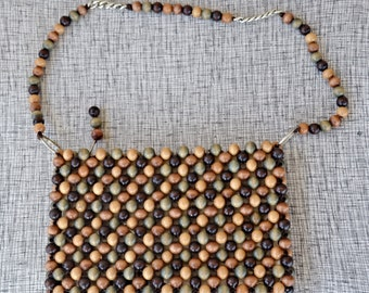 SALE 50s macrame purse, 1950s bag in earth tones, vintage beaded purse made in Japan