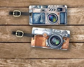 Luggage Tag Set Watercolor Camera art Photographer Tags Metal Luggage Tag Set With Custom Info On Back, 2 Tags Choice of Straps