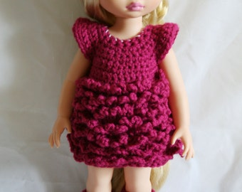 Choose Your Color - Disney Animator Doll Clothes Crochet Outfit  - Ruffled Dress and Leg Warmers for a Disney Princess