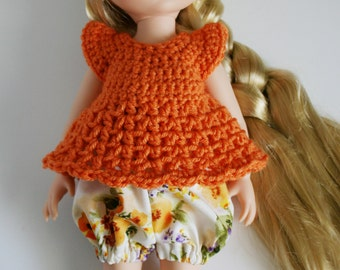 Disney Animator Doll Clothes - 2 Piece Outfit - Balloon Shorts and Crochet Top for a Disney Princess - Orange and Flowers