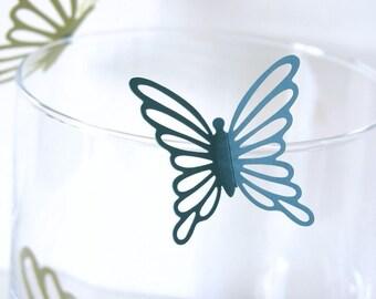 Wall Butterflies 3D Stickers JULIETTE in blues and green