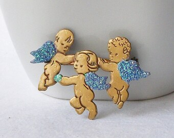 Vintage Cherub Brooch, Valentine Brooch, Something Blue