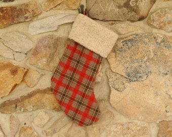Red Plaid Wool Christmas Stocking Personalized