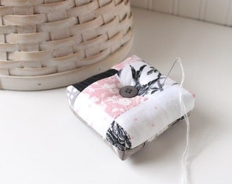 Pink Black and White Square Pincushion Black and White Pin Keep Scrappy Pin Cushion