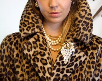 Leopard Coat VINTAGE 60s Faux Fur Swing Coat Animal Print 1950s 1960s Jackie-O Soft Plush 50s Long Full Sweep Cheetah Jacket by KILIMANJARO