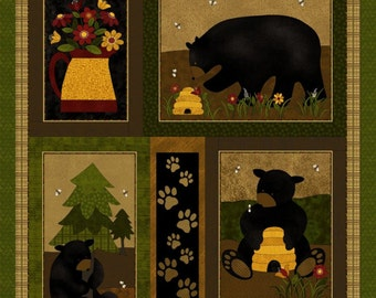 NEW Bear Paws Quilt Craft Fabric Panel
