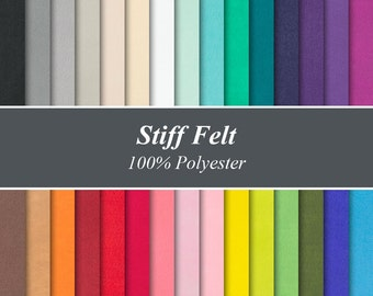 "Solid Colour Stiffened Felt Sheets - 12"" X 12"", Over 25 Colours and Multiple Pack Sizes Available"