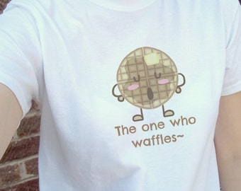 Cute kawaii waffle food illustration, white tee, T-shirt, tshirt, gift | mens womens unisex sizes