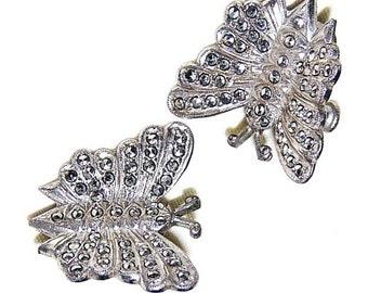 Sterling Silver Marcasite Butterfly Figural Screw On Earrings