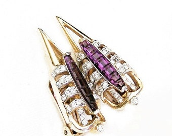 Reja Invisibly Set Amethyst Earrings Dagger Style