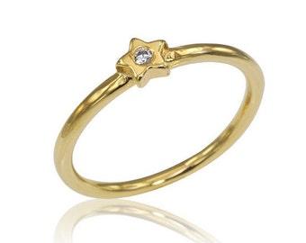 14K Diamond Star Ring, Star Engagement Ring, Diamond Ring, Unique Engagement Ring, Stackable Diamond Ring, Bridal Ring, Free Shipping
