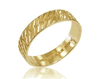 Mens Wedding Band, Geometric Wedding Band, Men's Wedding Ring, 14K Mens Ring, for Him, Mens Wedding Bnamd, Fast Free Shipping