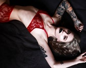 red lace lingerie set // red lace bralette and matching lace panties